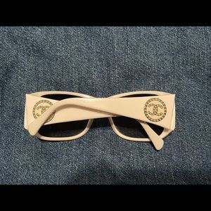 Chanel white sunglasses with pearl logo detail
